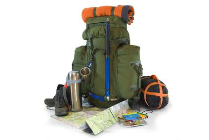 Trekkingrucksack mit Ausrüstung